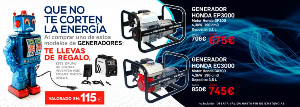 Generador Honda con regalo de grupo de Soldar este Black Friday